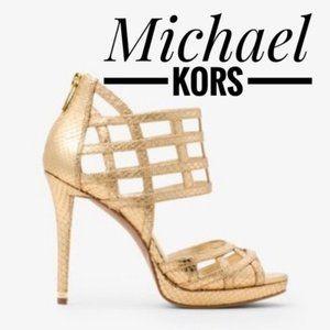 Michael Kors Trinity Gold Leather Heels✨NEW